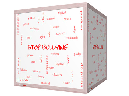 Stop Bullying Word Cloud Concept on a 3D cube Whiteboard with great terms such as students, cyber, safety and more. photo