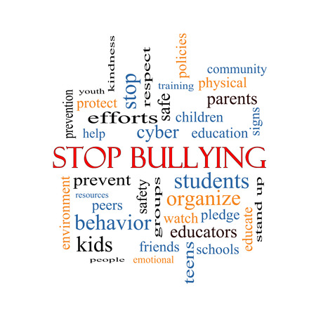 Stop Bullying Word Cloud Concept with great terms such as students, cyber, safety and more. photo