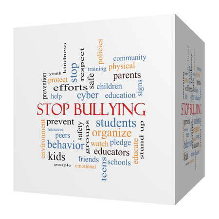 studens: Stop Bullying 3D cube Word Cloud Concept with great terms such as students, cyber, safety and more.