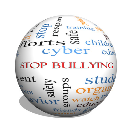 Stop Bullying 3D sphere Word Cloud Concept with great terms such as students, cyber, safety and more. photo