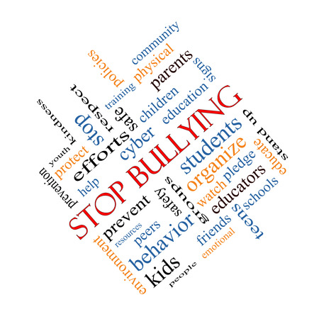Stop Bullying Word Cloud Concept angled with great terms such as students, cyber, safety and more. photo