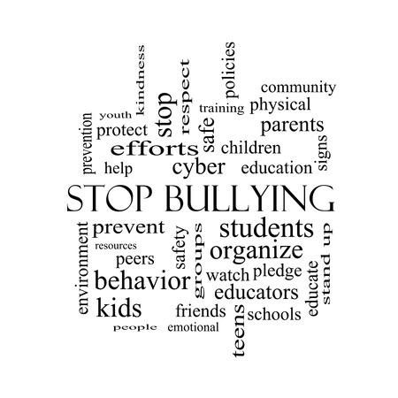 Stop Bullying Word Cloud Concept in black and white with great terms such as students, cyber, safety and more. photo