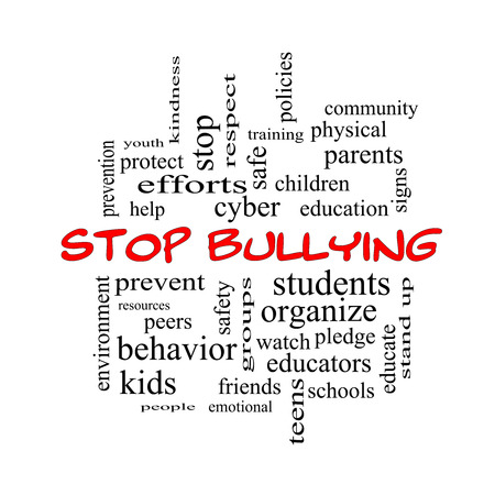 Stop Bullying Word Cloud Concept in red caps with great terms such as students, cyber, safety and more. photo