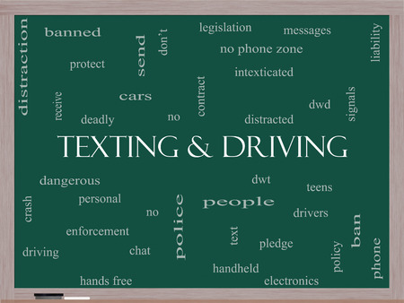 phone ban: Texting and Driving Word Cloud Concept on a Blackboard with great terms such as deadly, cars, teens and more.