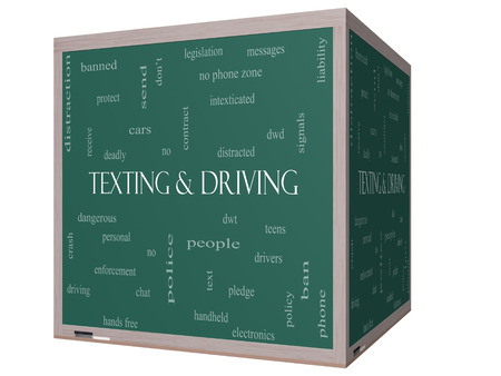 Texting and Driving Word Cloud Concept on a 3D Blackboard with great terms such as deadly, cars, teens and more. Stock Photo