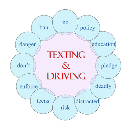 Texting and Driving concept circular diagram in pink and blue with great terms such as no, policy, education and more.
