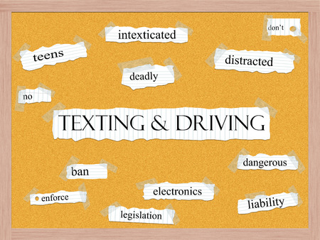 Texting and Driving Corkboard Word Concept with great terms such as teens, no, intexticated, deadly and more. Stock Photo