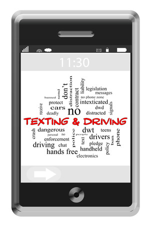 Texting and Driving Word Cloud Concept on a Touchscreen Phone with great terms such as dangerous, teens, cars and more.