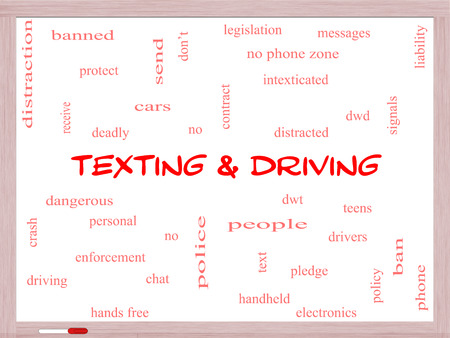 Texting and Driving Word Cloud Concept on a Whiteboard with great terms such as deadly, cars, teens and more.