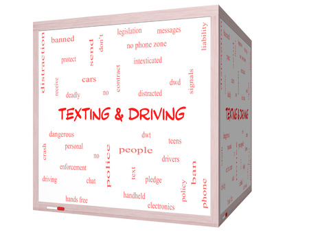 Texting and Driving Word Cloud Concept on a 3D Whiteboard with great terms such as deadly, cars, teens and more. photo