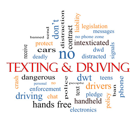 Texting and Driving Word Cloud Concept with great terms such as deadly, cars, teens and more. Stock Photo