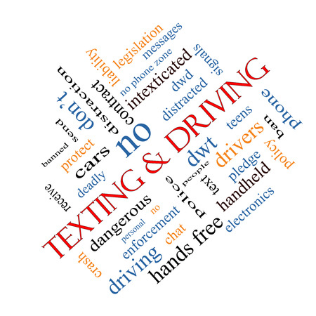 distraction: Texting and Driving Word Cloud Concept angled with great terms such as deadly, cars, teens and more.