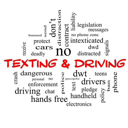 drivers: Texting and Driving Word Cloud Concept in red caps with great terms such as deadly, cars, teens and more. Stock Photo