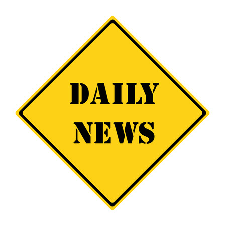 diamond shaped: A yellow and black diamond shaped road sign with the words DAILY NEWS making a great concept. Stock Photo