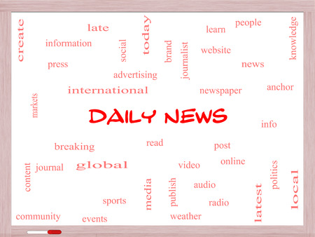 Daily News Word Cloud Concept on a Whiteboard with great terms such as read, online, local and more. photo