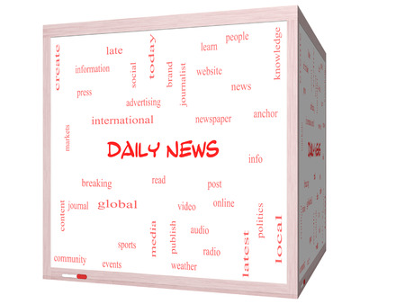 Daily News Word Cloud Concept on a 3D cube Whiteboard with great terms such as read, online, local and more. photo