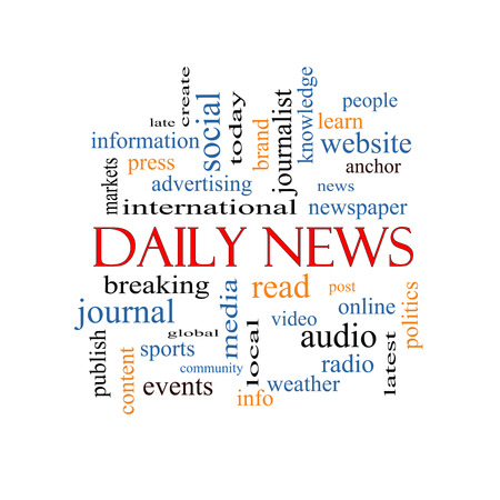 Daily News Word Cloud Concept with great terms such as read, online, local and more. photo