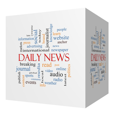 Daily News 3D cube Word Cloud Concept with great terms such as read, online, local and more. photo