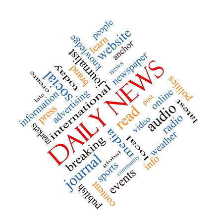Daily News Word Cloud Concept angled with great terms such as read, online, local and more. photo