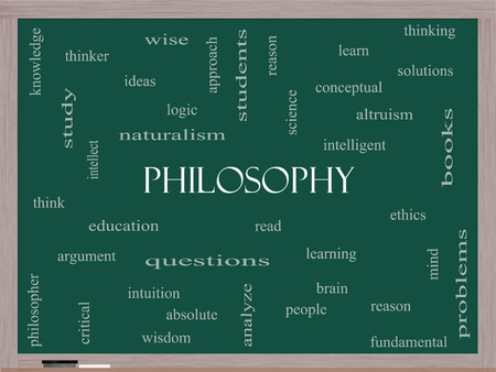 philosophy of logic: Philosophy Word Cloud Concept on a Blackboard with great terms such as education, study, thinker and more.