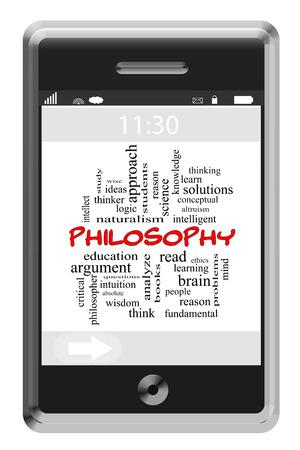 altruism: Filosofía Palabra Nube Concepto en un teléfono con pantalla táctil con grandes términos como la mente, la razón, las ideas y más. Foto de archivo