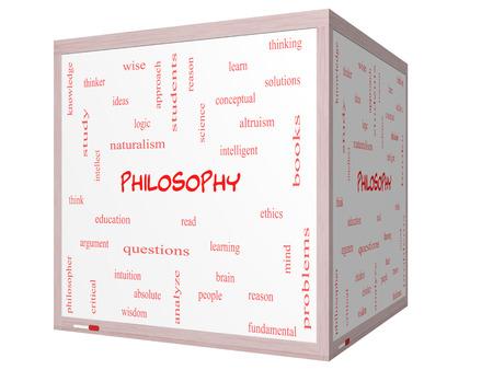 altruismo: Filosofía Palabra Nube Concepto en una pizarra cubo 3D con los términos de la educación, el estudio, el pensador y mucho más.