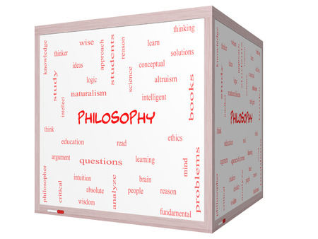 Philosophy Word Cloud Concept on a 3D cube Whiteboard with great terms such as education, study, thinker and more. Archivio Fotografico