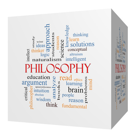 Philosophy 3D cube Word Cloud Concept with great terms such as education, study, thinker and more.