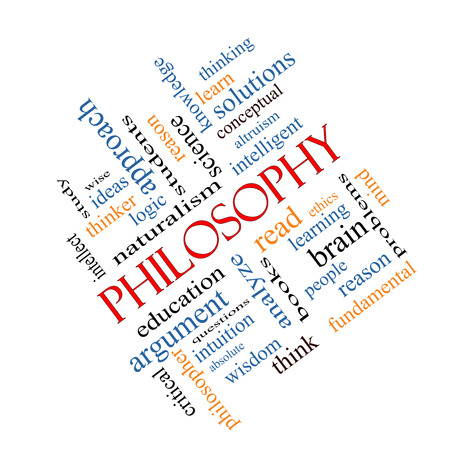 Philosophy Word Cloud Concept angled with great terms such as education, study, thinker and more.