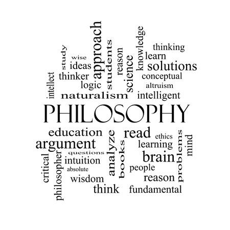 altruism: Filosofía Palabra Nube Concepto en blanco con los términos de la educación, el estudio, el pensador y más y negro. Foto de archivo