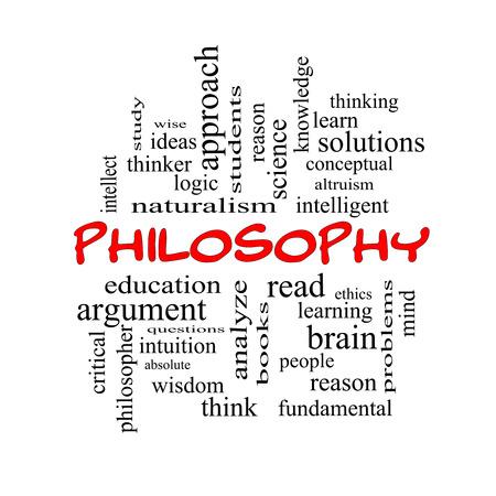 altruism: Filosofía Palabra Nube Concepto de gorras rojas con los términos tales como la educación, el estudio, pensador y mucho más.