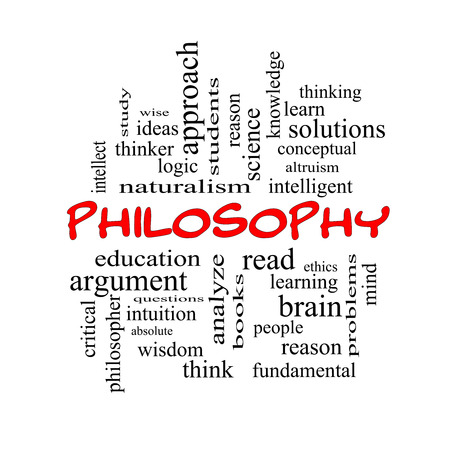 philosophy of logic: Philosophy Word Cloud Concept in red caps with great terms such as education, study, thinker and more.