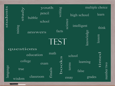 Test Word Cloud Concept on a Blackboard with great terms such as exam, school, learning and more. photo