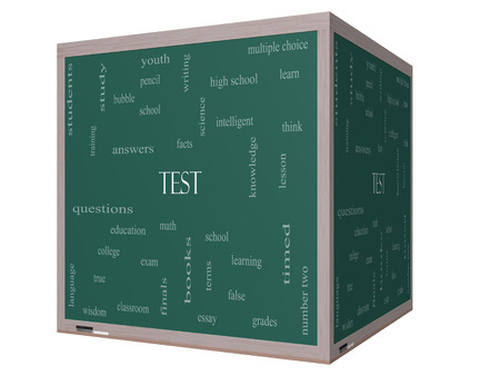 Test Word Cloud Concept on a 3D cube Blackboard with great terms such as exam, school, learning and more. photo
