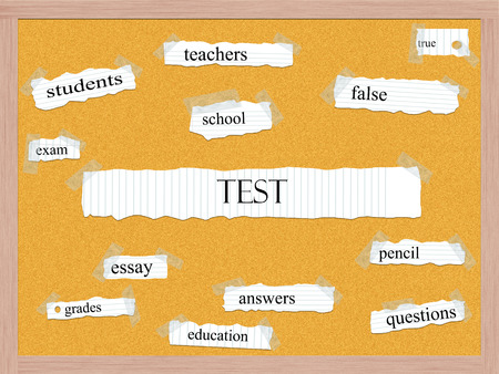 Test Corkboard Word Concept with great terms such as teachers, school, essay and more.