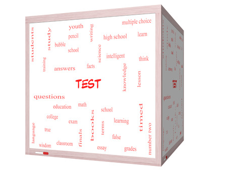 Test Word Cloud Concept on a 3D cube Whiteboard with great terms such as exam, school, learning and more. photo