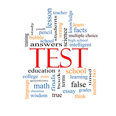 Test Word Cloud Concept with great terms such as exam, school, learning and more. photo