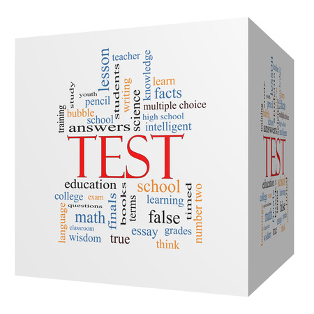 Test 3D cube Word Cloud Concept with great terms such as exam, school, learning and more. photo