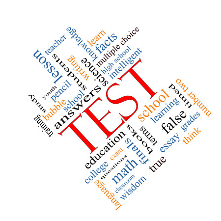 Test Word Cloud Concept angled with great terms such as exam, school, learning and more. photo