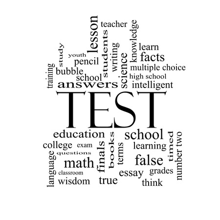 essay: Test Word Cloud Concept in black and white with great terms such as exam, school, learning and more. Stock Photo