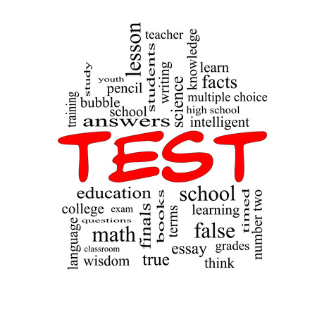 Test Word Cloud Concept in red caps with great terms such as exam, school, learning and more. photo