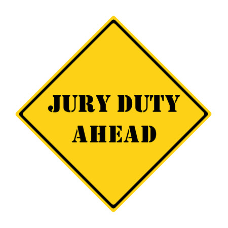 jury: A yellow and black diamond shaped road sign with the words JURY DUTY AHEAD making a great concept. Stock Photo