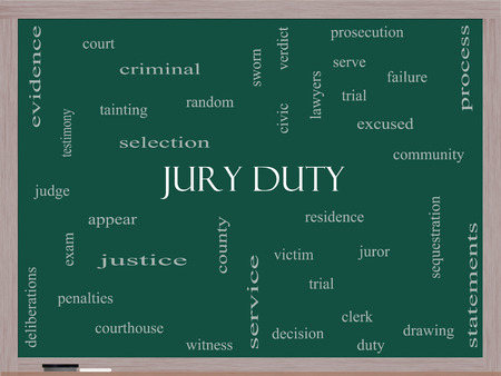Jury Duty Word Cloud Concept on a Blackboard with great terms such as appear, serve, juror and more. photo