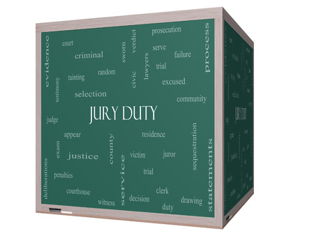 juror: Jury Duty Word Cloud Concept on a 3D cube Blackboard with great terms such as appear, serve, juror and more. Stock Photo