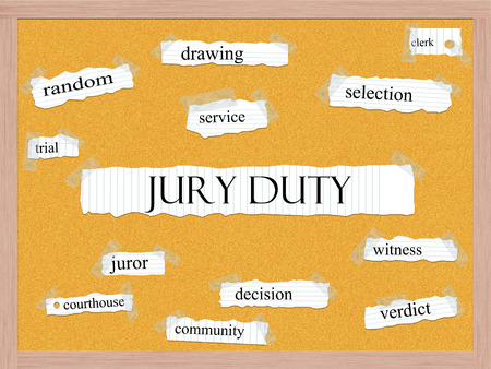 juror: Jury Duty Corkboard Word Concept with great terms such as random, drawing, service and more.