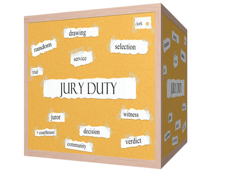 juror: Jury Duty 3D cube Corkboard Word Concept with great terms such as random, drawing, service and more.