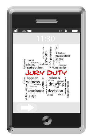 Jury Duty Word Cloud Concept on a Touchscreen Phone with great terms such as serve, civic, trial and more. photo