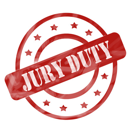 A red ink weathered roughed up circles and stars stamp design with the words JURY DUTY on it making a great concept.