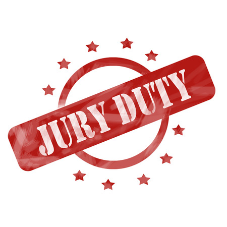 A red ink weathered roughed up circle and stars stamp design with the words JURY DUTY on it making a great concept.