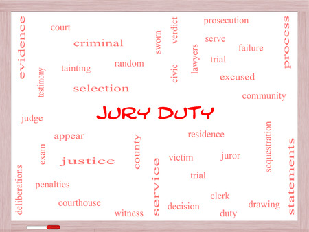 juror: Jury Duty Word Cloud Concept on a Whiteboard with great terms such as appear, serve, juror and more.